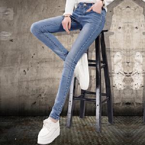 2017春秋冬薄款女士牛仔裤女小脚铅笔裤女裤子修身显瘦长裤大码女装
