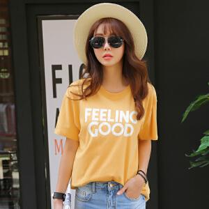 2017女士春夏新款韩版宽松印花短袖精梳棉上衣T恤BB17049