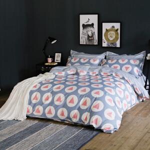 纯棉四件套 全棉床单被套棉定位枕套简约风尚四件套床上用品4件套