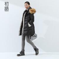 初语冬新装羽绒服女中长款大毛领 波点撞色气质淑女长外套女8540912001