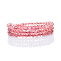 芭法娜 茜茜公主 天然草莓晶多圈时尚手链 晶体好 樱桃红