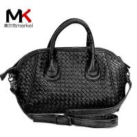 莫尔克(MERKEL)新款女包编织包通勤手提女士贝壳包欧美单肩斜挎包复古女士大包包潮