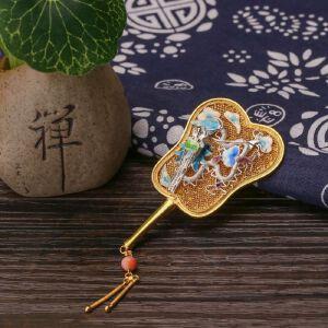 【只有一个】银镀金花丝镶珊瑚龙扇胸针