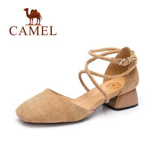 camel骆驼女单鞋 2017春夏季新款低帮女鞋 优雅舒适性感绑带中跟方头鞋子