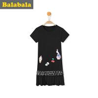 巴拉巴拉女童连衣裙亲子装母2017夏装新款儿童蕾丝公主裙莫代尔裙