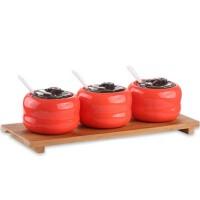 三件套金瓜调味罐 彩色陶瓷调料缸调味瓶料盒带勺