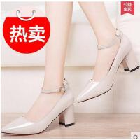 雅诗莱雅高跟鞋粗跟春秋季新款百搭尖头女鞋子性感女士小皮鞋单鞋春鞋YQ-3186-S
