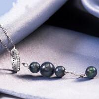珍珠饰品大溪地海水黑珍珠吊坠925项链女纯银锁骨链甜美