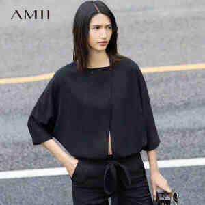Amii[极简主义]2017春女纯色镂空绑腰带七分袖宽松雪纺衫11741249