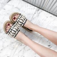 茉蒂菲莉 拖鞋 女式人字拖夏季韩版舒适防滑夹脚拖简约沙滩鞋子潮坡跟厚底鞋外穿凉拖鞋