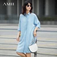Amii[极简主义]夏装2017新款纯色宽松七分袖衬衫领连衣裙11722694