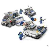 小鲁班陆军部队 男孩玩具车拼装模型积木儿童拼装玩具