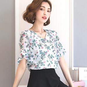 2017印花雪纺衫女短袖夏季新款上衣百搭修身荷叶边小衫