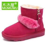 木木屋童鞋冬季新款女童靴中筒圆头韩版加绒毛单鞋潮儿童雪地靴