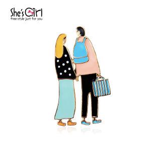 Sh'sGirl茜子 手绘情侣卡通纪念胸针 可爱滴油胸扣 首饰流行饰品