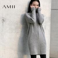 【AMII超级大牌日】[极简主义]2016冬装新款休闲镂空高领加厚长袖连衣裙女装短裙