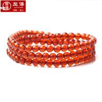 左传 高品质橙红色石榴石108颗5mm 三圈效果 手链 手串
