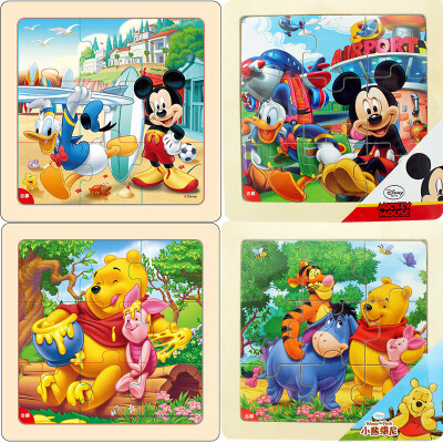 迪士尼拼图玩具 9片木制框拼四合一(米奇2666 米奇2685 维尼2668 维尼