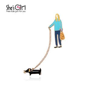 Sh'sGirl茜子 与小狗日常手绘动画胸针 可爱滴油胸口