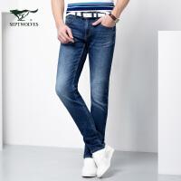 七匹狼牛仔裤春季新品男士时尚商务休闲青年中低腰修身牛仔长裤