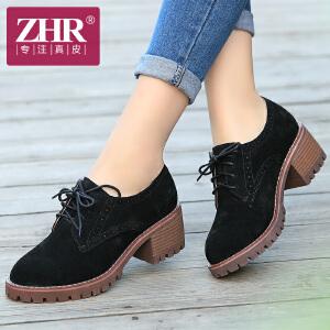 ZHR2017春季新款英伦复古单鞋真皮粗跟女鞋高跟女鞋休闲鞋小皮鞋Q07
