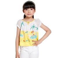 巴拉巴拉童装夏季女童沙滩风情短袖衬衫中大童衬衣