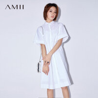 Amii[极简主义]2017夏装宽松暗门襟抽绳系带两件套连衣裙11782002