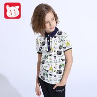 小猪班纳童装男童短袖T恤2017夏季装儿童翻领上衣男中大童体恤衫