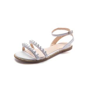 莎诗特一字带凉鞋女夏2017新款学生罗马鞋复古铆钉平底凉鞋女平跟81307