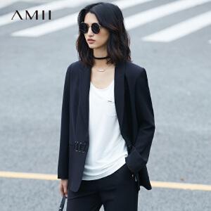 Amii[极简主义]2017春女新翻领长袖黑色绑带拼接西装外套11780417