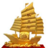 绒沙金工艺品摆件 一帆风顺帆船开业礼品商务办公礼物 *礼物