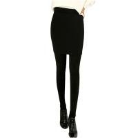 加绒假两件打底裤裙女秋冬季外穿高腰包臀大码小脚保暖长裤子