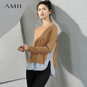 Amii[极简主义]2017春新大码休闲拼接假两件绣花针织T恤11791511