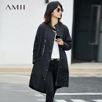 Amii[极简主义]2017春女装半高领刺绣棉宽松中长外套风衣11780898