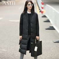 【AMII超级大牌日】[极简主义]2016冬女装新翻领无袖90绒长羽绒马夹