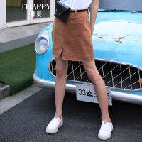 【商场同款 显示秒杀 仅此一天】海贝2017夏季新款女装半身裙 优雅气质纯棉开叉显高显瘦A字裙短裙