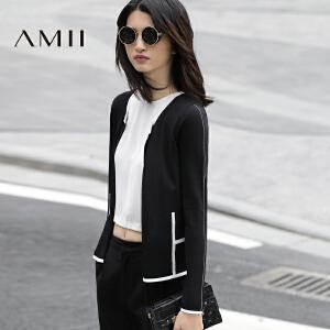 【AMII超级大牌日】[极简主义]2017春女撞色饰边长袖修身大码毛针织开衫11770297