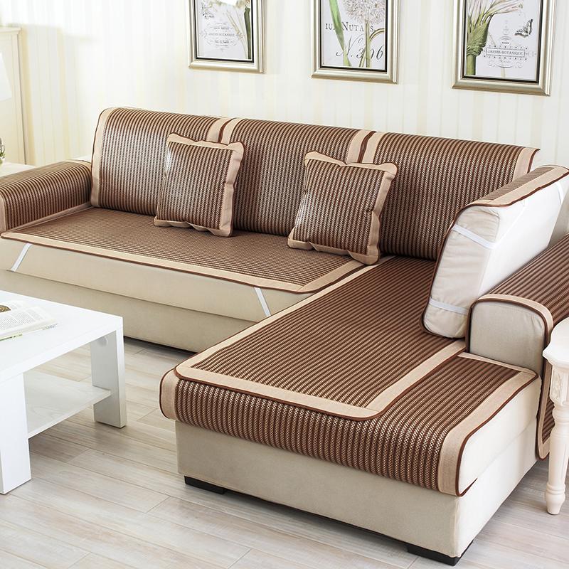 夏季夏款凉席沙发垫冰藤藤席订做定制沙发布沙发罩全盖沙发床套欧式现代老式折叠三人防滑床笠式无扶手沙发盖简易两款可选沙发垫是一片一片卖的,非套装