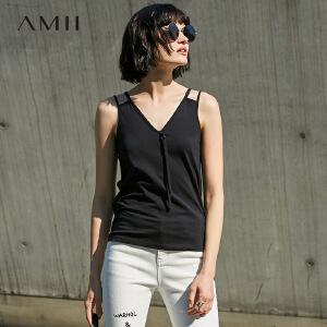 Amii[极简主义]2017夏新女大码镂空肩带V领露背休闲背心11730554