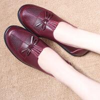 茉蒂菲莉 凉鞋 女2017夏真新款皮凉鞋女士平底平跟镂空透气头层牛皮中老年妈妈鞋手工女鞋子