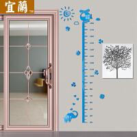 儿童房测量身高贴墙贴 宝宝卧室亚克力3d立体可移除卡通墙壁装饰