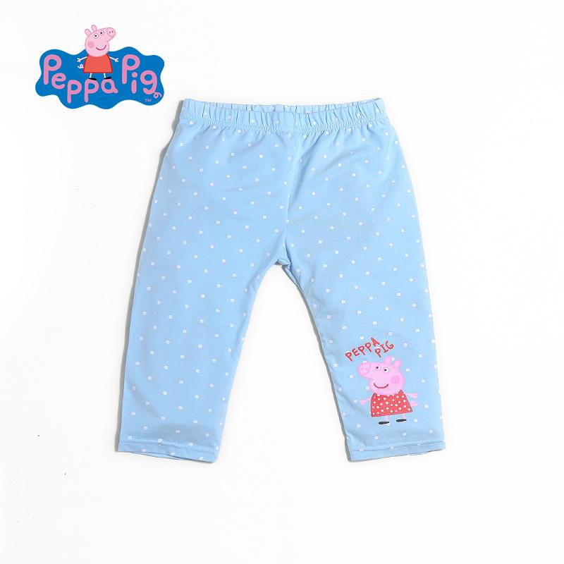 小猪佩奇童装夏季新款女童轻薄休闲时尚波点纯棉打底裤七分裤