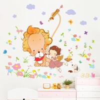 创意客厅电视墙贴纸女孩卧室儿童房间装饰品浪漫温馨墙贴画可移除