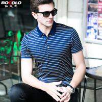 短袖POLO衫男士 桑蚕丝T恤韩版夏季新款翻领条纹真丝保罗衫修身青年男装 伯克龙Z87562