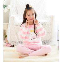女童睡衣家居服立体贴饰法兰绒儿童套装睡衣珊瑚绒