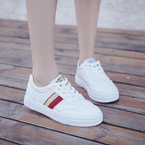 夏季新款板鞋时尚百搭休闲鞋单鞋圆头系带小白鞋学院风学生鞋女鞋