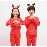 大红色男女童棉莱卡毛衫中大童 儿童本命年内衣裤套装纯棉