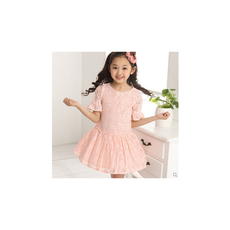 童装2014儿童12岁13岁14岁小女孩夏装白色10岁女童小孩连衣裙子_粉色