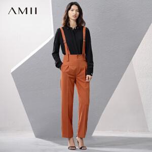Amii[极简主义]2017夏女纯色背带高腰西装休闲长裤11790903