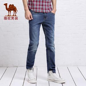 骆驼&熊猫联名系列男装青年时尚中腰拉链合体直筒牛仔裤长裤子男